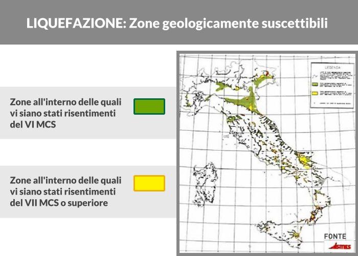 zone in italia suscettibili a liquefazione dei terreni